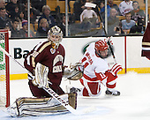 Thatcher Demko (BC - 30), Mike Moran (BU - 11) - The Boston College Eagles defeated the Boston University Terriers 3-1 (EN) in their opening round game of the 2014 Beanpot on Monday, February 3, 2014, at TD Garden in Boston, Massachusetts.