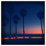 Twilight bicycle ride on the bike path at Venice Beach