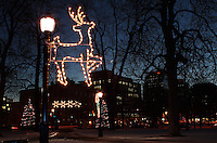 Christmas Decorations in a Downtown Park at Dusk