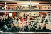 Graffitti splash across the window of a Berlin metro. .Picture taken 2005 by Justin Jin
