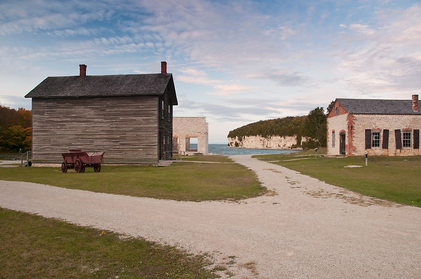 Historic buildings of Fayette State Historical Park near Garden Michigan.