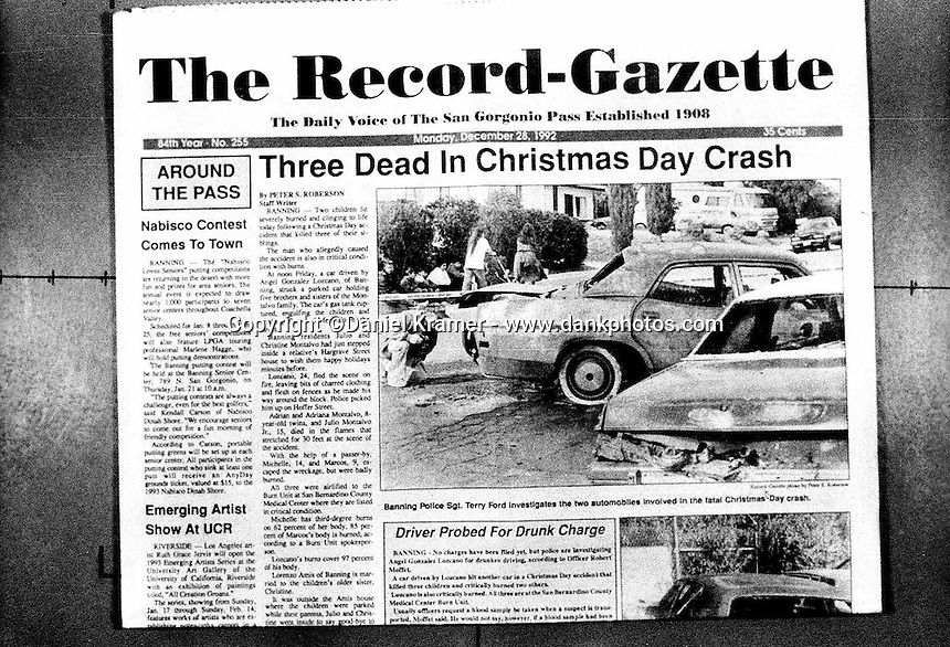 The front page of The Record-Gazette newspaper in Southern California tells of the horrific, Christmas-Day, 1992 car accident in which three children were burned to death.