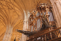 Organ and Gothic vaulted ceiling, in the Cathedral of the Incarnation of Almeria, or Catedral de la Encarnacion de Almeria, built 1524-62 in late Gothic and Renaissance styles after the original cathedral was destroyed in an earthquake, Almeria, Andalusia, Southern Spain. Picture by Manuel Cohen