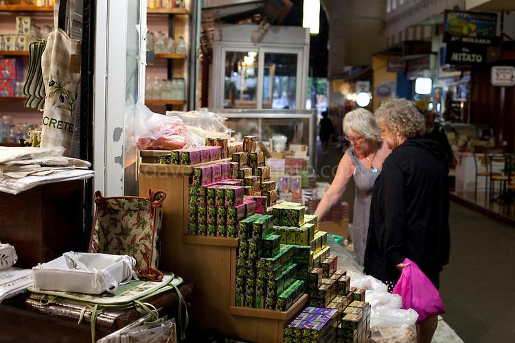 Women shopping in Xania Market, Crete, Greece
