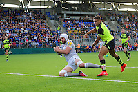Dave Attwood of Bath Rugby scores the opening try of the match. Pre-season friendly match, between Leinster Rugby and Bath Rugby on August 26, 2016 at Donnybrook Stadium in Dublin, Republic of Ireland. Photo by: Patrick Khachfe / Onside Images