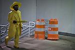 A man walks into the path station at Lower Manhattan in New York, United States. 5/4/2012.  Photo by Eduardo Munoz Alvarez / VIEWpress.