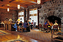"""The Great Hall"" lobby and fireplace at Crater Lake Lodge; Crater Lake National Park, Oregon.."