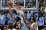 05 January 2015: Notre Dame's Zach Auguste (30) shoots behind North Carolina's Kennedy Meeks (right). The University of North Carolina Tar Heels played the University of Notre Dame Fighting Irish in an NCAA Division I Men's basketball game at the Dean E. Smith Center in Chapel Hill, North Carolina. Notre Dame won the game 71-70.