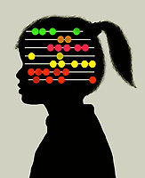Young girl with abacus inside of head