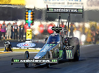 Nov 11, 2016; Pomona, CA, USA; NHRA top fuel driver Brittany Force during qualifying for the Auto Club Finals at Auto Club Raceway at Pomona. Mandatory Credit: Mark J. Rebilas-USA TODAY Sports