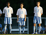 2 September 2007: North Carolina's Eddie Ababio (9), Joan Carvajal (10), and Brian Shriver (31). The University of North Carolina Tar Heels tied the Old Dominion University Monarchs 1-1 at Fetzer Field in Chapel Hill, North Carolina in an NCAA Division I Men's Soccer game.