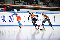 SHORT TRACK: TORINO: 15-01-2017, Palavela, ISU European Short Track Speed Skating Championships, Final Relay Ladies, Start, Suzanne Schulting (NED), Andrea Keszler (HUN), ©photo Martin de Jong