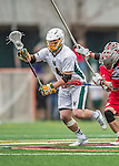 18 April 2015:  University of Vermont Catamount Face Off Specialist Luc LeBlanc, a Sophomore from Essex, VT, leads a midfield rush against the University of Hartford Hawks at Virtue Field in Burlington, Vermont. The Cats defeated the Hawks 14-11 in the final home game of the 2015 season. Mandatory Credit: Ed Wolfstein Photo *** RAW (NEF) Image File Available ***