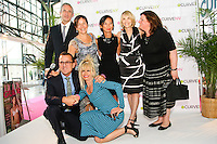 Jean-Luc Teinturier, Steven Kolb, Betsey Johnson, Josie Natori, Carole Hochman and others pose on stageat the CURVE and CFDA Party For A Cause event during the CURVENY Lingerie & Swim show, at the Jacob Javits Convention Center, August 2, 2010.