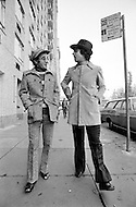 New York City, USA. October 25th, 1971. French singers Enrico Macias (R) and Charles Aznavour in Central Park West in New York City.