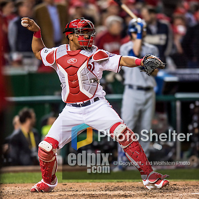 13 October 2016: Washington Nationals catcher Pedro Severino in action during Game 5 of the NLDS against the Los Angeles Dodgers at Nationals Park in Washington, DC. The Dodgers edged out the Nationals 4-3, to take Game 5 of the Series, 3 games to 2, and move on to the National League Championship Series against the Chicago Cubs. Mandatory Credit: Ed Wolfstein Photo *** RAW (NEF) Image File Available ***