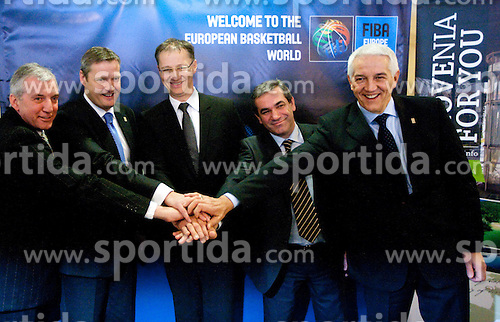 Iztok Rems, Olafur Rafnsson, Dr. Igor Luksic, Roman Volcic and Nar Zanolin celebrate at Eurobasket 2013 Candidate presentation of Slovenia at FIBA EUROPE Board on December 05, 2010 in Munich, Germany. The Board decided that Eurobasket 2013 will be in Slovenia. (Photo By Vid Ponikvar / Sportida.com)