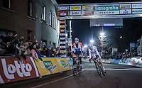 Mathieu Van der Poel (NED/Beobank-Corendon) wins the 2016 Superprestige Diegem with world champion Wout Van Aert (BEL/Crelan-Vastgoedservice) in tow