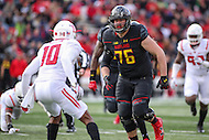 College Park, MD - November 26, 2016: Maryland Terrapins offensive lineman Michael Dunn (76) in action during game between Rutgers and Maryland at  Capital One Field at Maryland Stadium in College Park, MD.  (Photo by Elliott Brown/Media Images International)