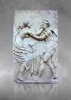 Roman Sculpture of a Nymph pusing a Satyr away, 1st century AD, Herculaneum,  Secret Museum or Secret Cabinet, Naples National Archaeological Museum , grey art background