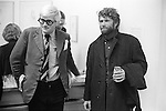 David Hockney with artist RB Kitaj at the opening of Hockneys show at the Kasmin gallery Bond Street, London 1969