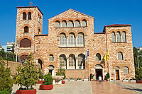 The 4th century AD Romanesque 3 aisled basilica of Saint Demetrius, or Hagios Demetrios,  , a Palaeochristian and Byzantine Monuments of Thessaloniki, Greece. A UNESCO World Heritage Site.