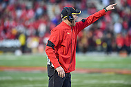 College Park, MD - NOV 12, 2016: Maryland Terrapins head coach DJ Durkin yells out a play during game between Maryland and Ohio State at Capital One Field at Maryland Stadium in College Park, MD. (Photo by Phil Peters/Media Images International)