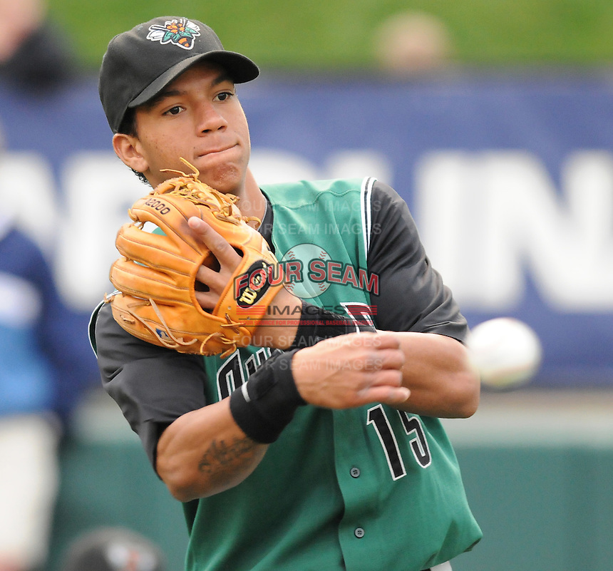 May 11, 2009: Infielder Ehire Adrianza (15) of the Augusta GreenJackets, the No. 6-rated prospect for the San Francisco Giants, before a game against the Greenville Drive at Fluor Field at the West End in Greenville, S.C. Photo by: Tom Priddy/Four Seam Images