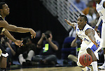 Freshman guard Eric Bledsoe attempts to steal the ball during the first half of the UK men's basketball against Wake Forest for the second round of the NCAA tournament at New Orleans Arena on Saturday, March 20, 2010. The Cats were up on the Deacs 44-28 at the half. Photo by Adam Wolffbrandt | Staff