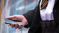 School Teenager on a Smart Phone - Jun 2014.