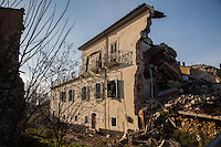 Onna, a few Kilometres from L'Aquila, is a village that was almost completely erased by the earthquake of April 6, 2009.  85% of its old buildings went destroyed, killing 40. <br /> Rubbles of a house. Onna, Italy. April 10, 2015