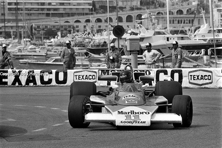 MONTE CARLO, MONACO - MAY 30: James Hunt of Great Britain drives his McLaren M23 8-2/Ford Cosworth during the Grand Prix of Monaco FIA Formula 1 race at the Circuit de Monaco temporary street circuit in Monte Carlo, Monaco on May 30, 1976.