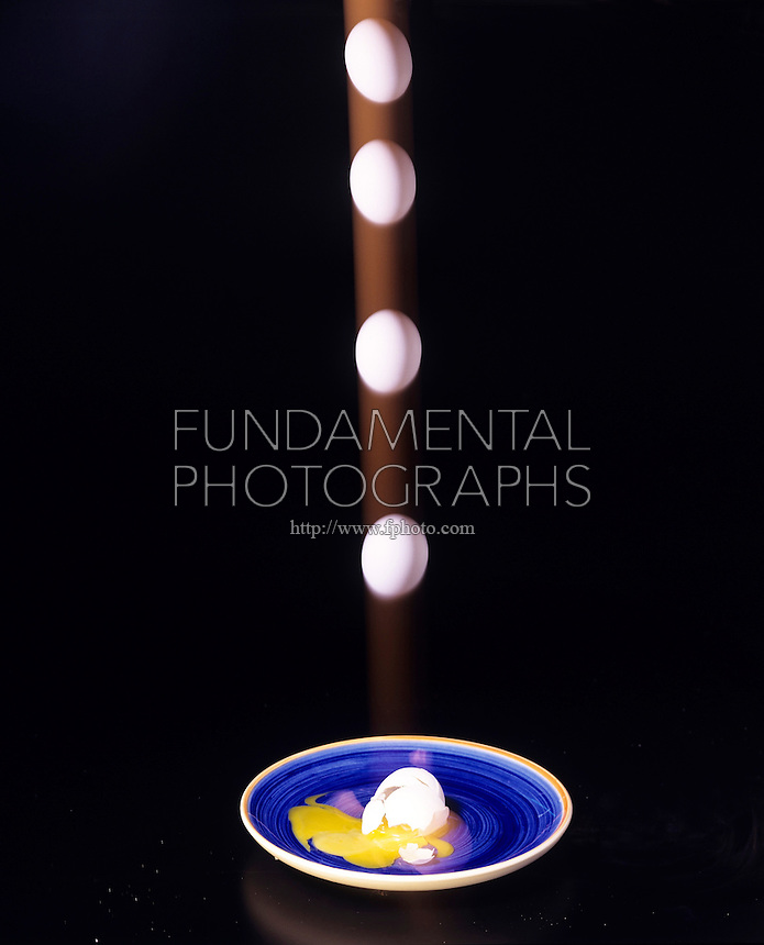 ENTROPY: FALLING EGG - stroboscopic<br /> Second Law of Thermodynamics<br /> The only changes that are possible for an isolated system are those in which the entropy of the system either increases or remains the same. The cracked eggshell will not pull itself back together.
