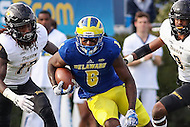 Newark, DE - October 29, 2016: Delaware Fightin Blue Hens wide receiver Jamie Jarmon (6) avoids the Towson Tigers defenders during game between Towson and Delware at  Delaware Stadium in Newark, DE.  (Photo by Elliott Brown/Media Images International)