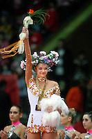 "Anna Bessonova of Ukraine celebrates event final win at 2008 World Cup Kiev, ""Deriugina Cup"" in Kiev, Ukraine on March 23, 2008."