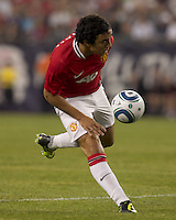 Manchester United FC defender Rafael Da Silva (21) traps the ball. In a Herbalife World Football Challenge 2011 friendly match, Manchester United FC defeated the New England Revolution, 4-1, at Gillette Stadium on July 13, 2011.