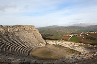Roman theatre of Segesta, ca. 409 BC, Calatafimi-Segesta, Sicily, Italy. The cavea width is 63 meters and the orchestra diameter is 14.8 meters. Picture by Manuel Cohen