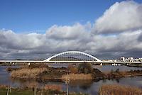 Lusitania (Hispania Ulterior) Bridge, built by Santiago Calatrava Valls (Benimamet, Spain 1951), Guadiana river; 1988 ? 1991; total length 465 meters (1525,50 ft), Merida, Extremadura, Spain Picture by Manuel Cohen