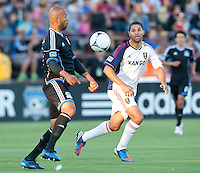 Santa Clara, California - Saturday July 14, 2012: Real Salt Lake's Alvaro Saborio and San Jose Earthquakes' Victor Bernardez in action during a game at Buck Shaw Stadium, Stanford, Ca     San Jose Earthquakes defeated Real Salt Lake 5 - 0.
