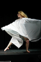 Performer dances an interlude choreographed by Sandra Sabbahi, before the &quot;Skeleton&quot; collection by Ema Klein, from the Academy of Fine Arts and Design in Bratislava, during Slovak Fashion Night 2012 in New York City May 11, 2012.