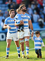 Juan Martin Fernandez Lobbe of Argentina celebrates with his kids and the crowd after the match. Rugby World Cup Pool C match between Argentina and Tonga on October 4, 2015 at Leicester City Stadium in Leicester, England. Photo by: Patrick Khachfe / Onside Images