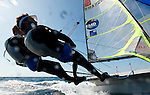 49 er pair Julien d'Ortoli, Noe Delpech training during a sunny and windy day in Marseille, France.