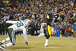 PITTSBURGH, PA - JANUARY 23: Ben Roethlisberger #7 of the Pittsburgh Steelers runs for the end zone during the second quarter against the New York Jets in the AFC Championship Playoff Game at Heinz Field on January 23, 2011 in Pittsburgh, Pennsylvania. The Steelers defeated the Jets 24 to 19. (Photo by: Rob Tringali) *** Local Caption *** Ben Roethlisberger