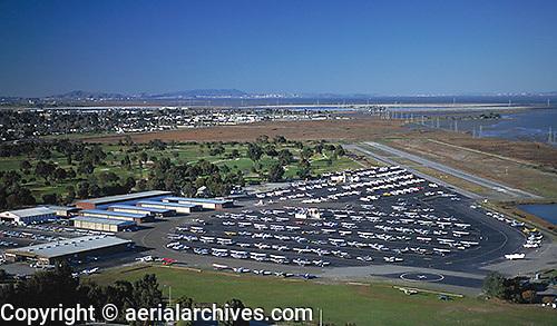 aerial photograph Palo Alto airport Santa Clara county, California with San Francisco skyline and Marin Headlands visible in background