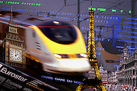 Eurostar high speed train and its destinations, London, Paris and Brussels.  Eurostar travels from London through the Channel tunnel to France and Belgium.  Digital Composite.