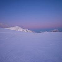 Winter mountain landscape at dawn, Moskenesøy, Lofoten Islands, Norway