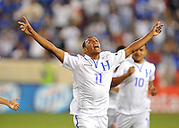 Rony Martinez (11) of Honduras celebrates with his score.  Honduras defeated Haiti 2-0 in the first round of the CONCACAF Gold Cup, at Red Bull Arena, Monday July 8 , 2013.