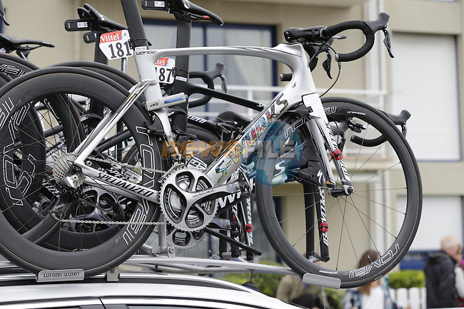 Marcel Kittel's (GER) Etixx-Quick Step Specialized Venge bike atop the team car before the start of Stage 3 of the 2016 Tour de France, running 223.5km from Granville to Angers, France . 4th July 2016.<br /> Picture: Eoin Clarke   Newsfile<br /> <br /> <br /> All photos usage must carry mandatory copyright credit (&copy; Newsfile   Eoin Clarke)