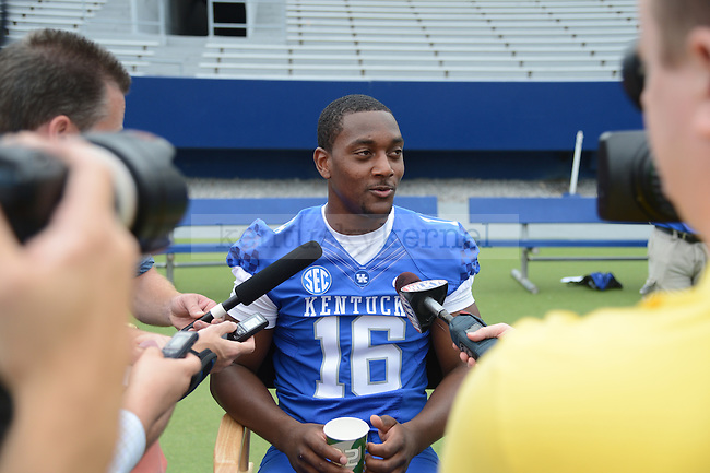 Senior wide receiver La'Rod King is interviewed during UK Football Media Day on Friday, August 3, 2012. Photo by Mike Weaver| Staff