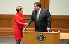 November 18, 2011; Dean Nell Jessup Newton shakes hands with New Jersey Gov. Chris Christie at the end of his keynote address during a daylong symposium, titled &ldquo;Educational Innovation and the Law&rdquo; in the Patrick F. McCartan Courtroom at the Notre Dame Law School. Photo by Barbara Johnston/University of Notre Dame.